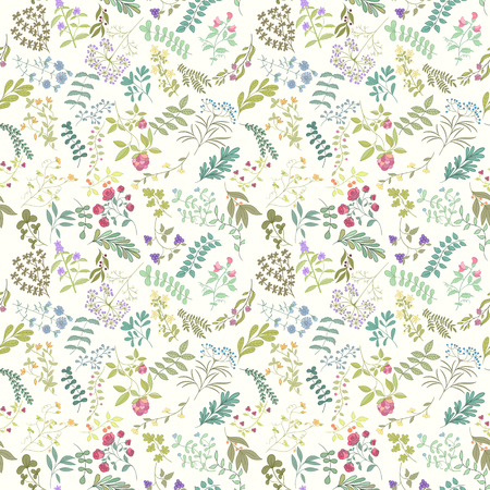 Seamless pattern of branches, flowers, herbs and leaves. Hand drawn vector illustration of can be used for wallpaper, website background, wrapping paper, invitation, flyer, banner or website Illustration