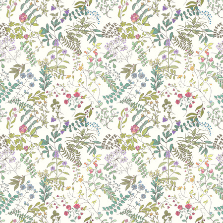 Seamless pattern of branches, flowers, herbs and leaves. Hand drawn vector illustration of can be used for wallpaper.