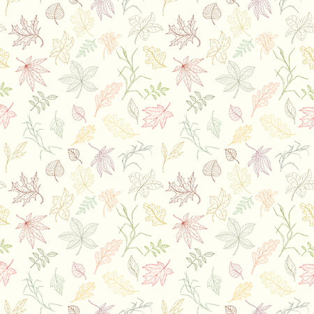 Assortment autumn seamless pattern for wallpaper, website or textile printing Hand drawn endless illustration of bright elements on light background Иллюстрация