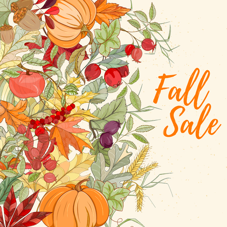 Autumn hand drawn vector illustration. Bright colorful elements on light background can be used for invitation, card, banner template, flyer, sale, website, cover. Art concept.
