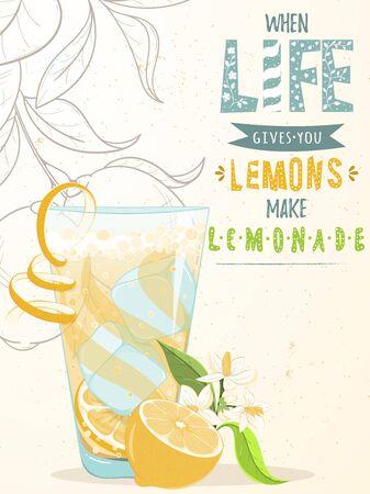 Glass of lemonade and lemonscard