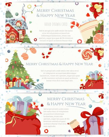 Set of Christmas and New Year invitation cards. Vector flyers with Christmas tree with presents, star, garland, bag etc. Bright hand-drawing elements for festive advertising. 일러스트