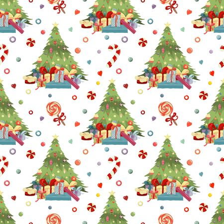 Merry Christmas Happy New Year hand drawn pattern