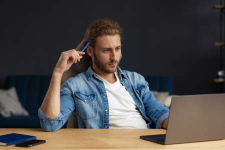 Studying online, online courses. Business concept.Young handsome curly smiling man with long hair studying in home with laptop. Business portrait of handsome manager sitting at workplace. Banque d'images