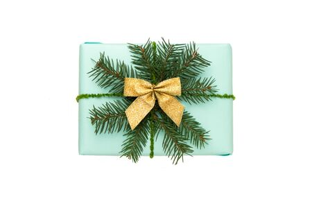 Mint color gift box isolated on white background Stockfoto