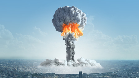 The explosion of a nuclear bomb in the city.