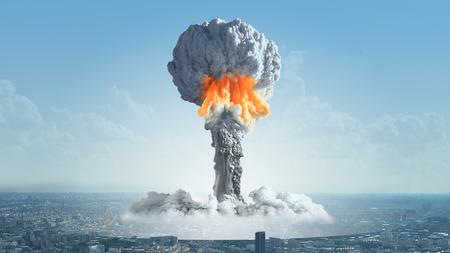 De explosie van een nucleaire bom in de stad.