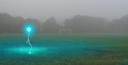 Ball lightning on a rural field in the rain. 版權商用圖片