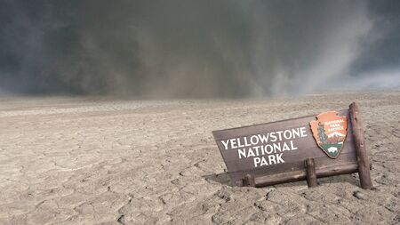 Yellowstone Park after the eruption of the volcano. Apocalypse Archivio Fotografico