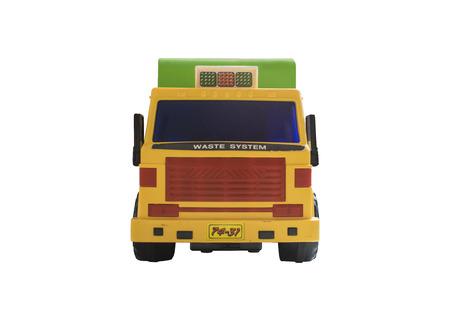 camion de basura: Basura Carro del juguete - parte frontal - color amarillo naranja y verde