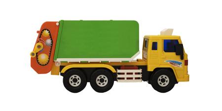 camion de basura: Toy basura cami�n - amarillo anaranjado y verde - lado izquierdo