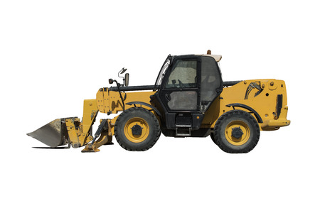yelloow: Yellow tractor - dozer - pitchfork on white background Stock Photo