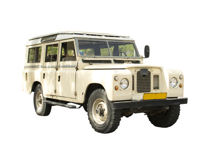 work path: Retro jeep 4x4 in beige color on white beckground - with work path for make selection Stock Photo