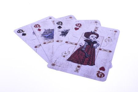 poker cards: Poker cards - queen kare on white background