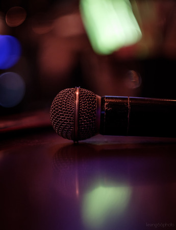The microphone on table Stock Photo
