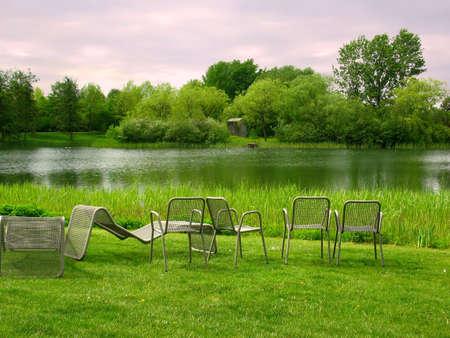 bundesgartenschau: An idyllic place near the water to take a rest and enjoy the splendid view Stock Photo