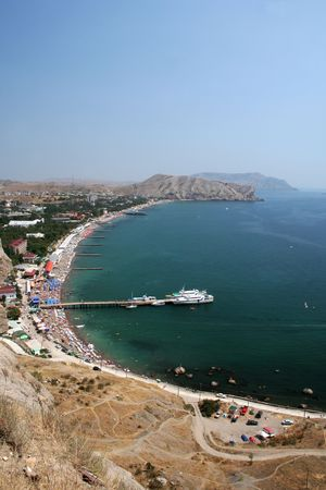 View at Sudak city on Crimea Ukraine with beach and gulf Stock Photo - 3556325