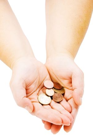 Hands with few euro cents isolated photo