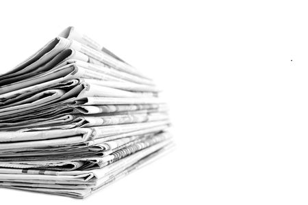 Stack of isolated newspapers in black and white Stock Photo - 4479403