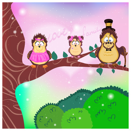 Family, Mom, Dad, Daughter On A Branch, The family of birds owls, father, mother and daughter sitting on a tree branch above the green grass in the fairy forest Vector