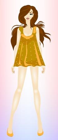茶髪: 若い、美しい、スリム女の子茶色髪