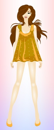 frill: Young, beautiful, slim girl brown hair Illustration