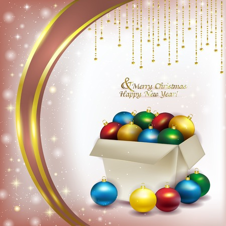 glare: Paper box with colored Christmas balls on a delicate pink background of soft snow, and glare with sequins