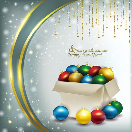 glare: Paper box with colored Christmas balls on background of soft snow, and glare with sequins