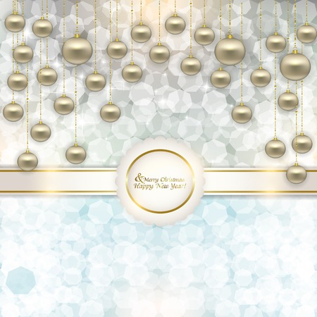 Christmas abstract background with glare, glitter and stylized balls for text hanging on a Golden thread tied in a bow Vector