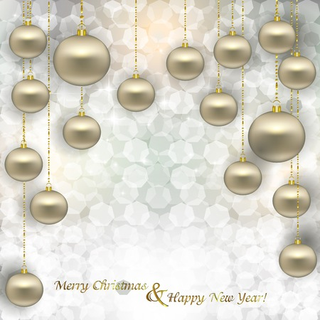 glare: Christmas abstract background with glare, glitter and stylized balls for text hanging on a Golden thread tied in a bow