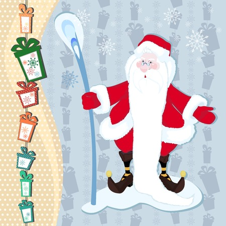 A hilarious magician Santa Claus with a stick long white beard on new year background Vector