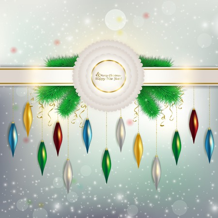 flecks: Holiday abstract background with different folding itself new toys with flecks of glitter and tinsel Illustration