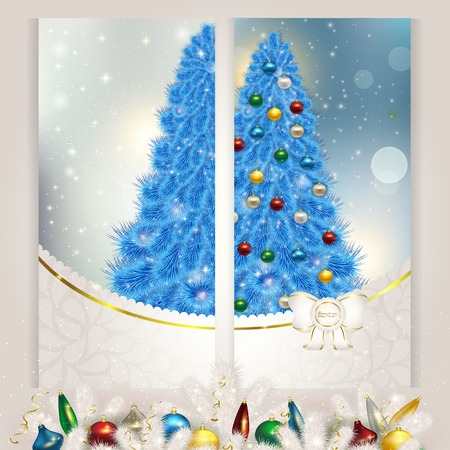 New year set of postcards c blue Christmas Vector