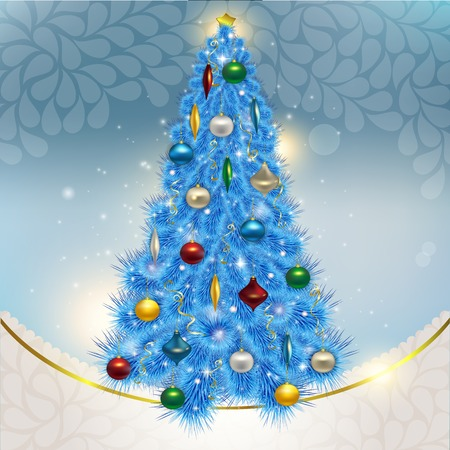 Abstract background with elegant Christmas blue Christmas tree w Vector