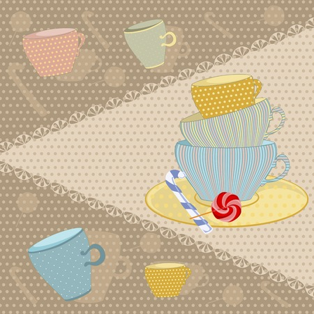 earthenware: background of the mugs with candy Illustration