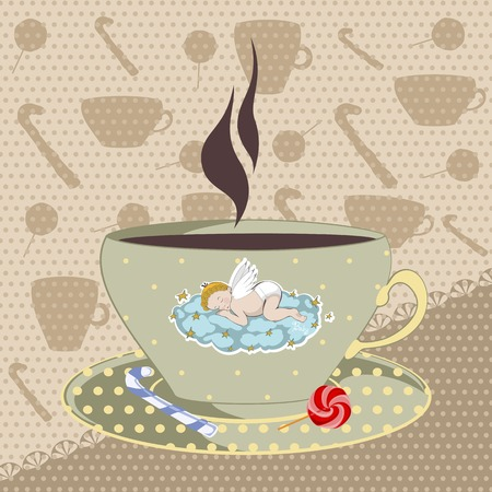 poured: mug with a sleeping angel and a hot drink of cocoa