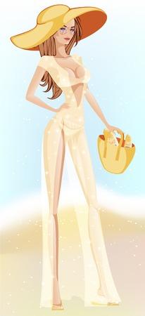 sheer: girl on the beach in long shimmering light dress