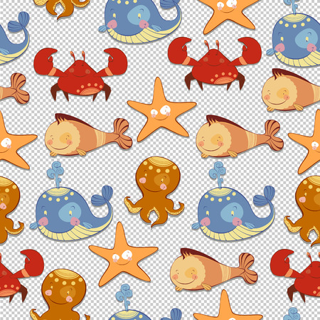gills: seamless background of sea creatures Illustration