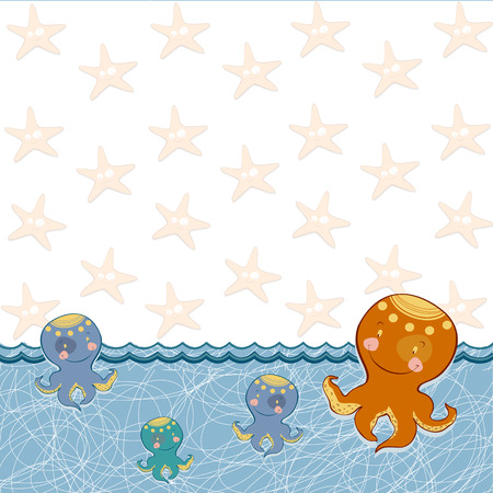 blooded: children frame with a fun octopus Illustration