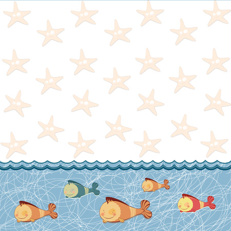 blooded: children frame with funny fish Illustration
