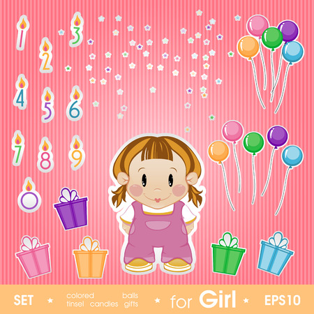Festive set for girl. Set for birthday, candles, gifts, tinsel, Vector