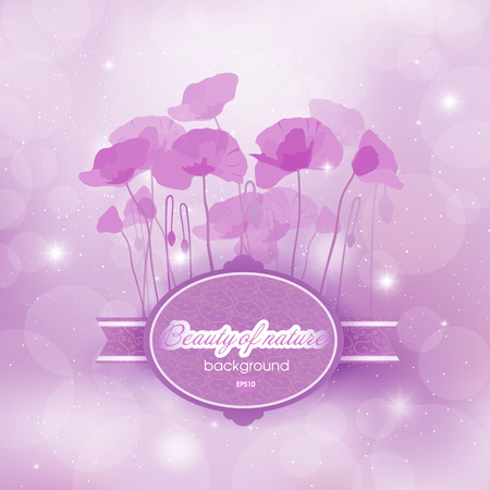 blossomed: Blooming Poppies abstract background in Magenta