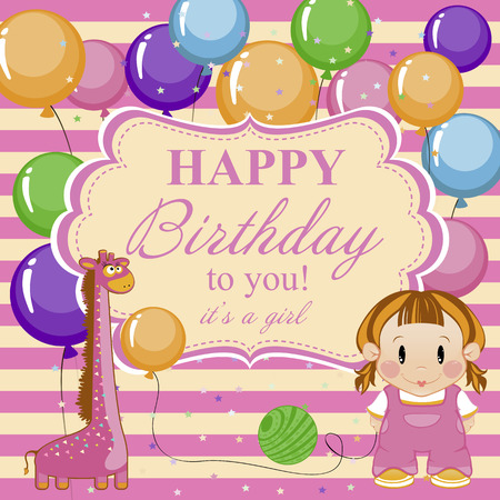Little funny girl with toys and balloons. Greeting card for baby girl a happy Birthday. Vector