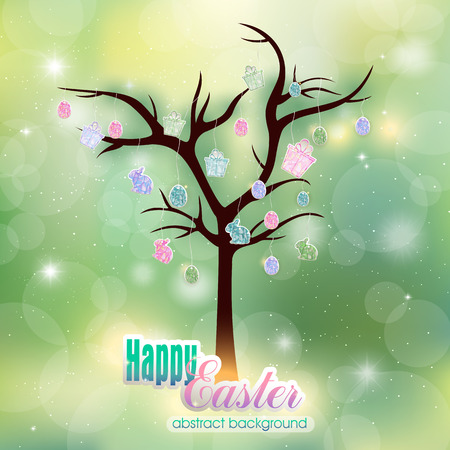 easter tree: Abstract spring background and Easter tree Illustration