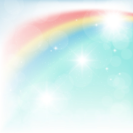 bright rainbow in the blue sky