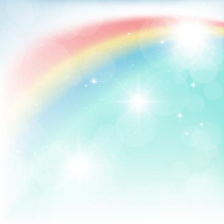 arco iris: arco iris brillante en el cielo azul