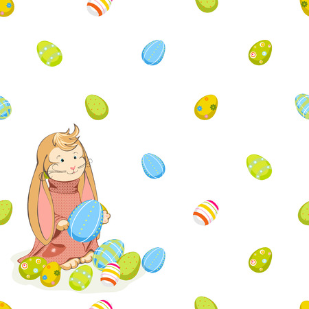 jointless: seamless background from the Easter Bunny and colored eggs Illustration