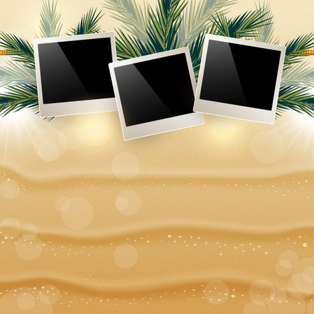hung: Bright background with Golden sand and hung pictures in the leav Illustration