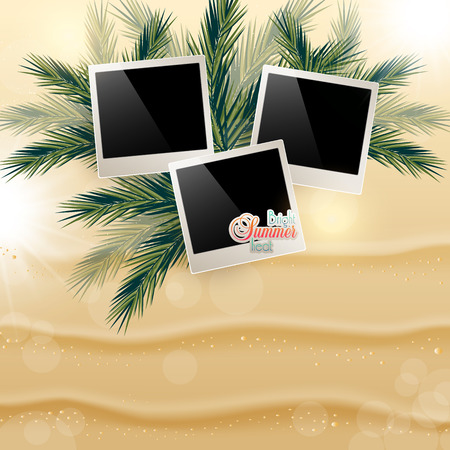 Solar gierki day with photos on the Golden sand on palm leaves. Illustration