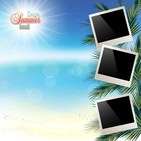 playfulness: Abstract sea background with white sand and a place for photos.
